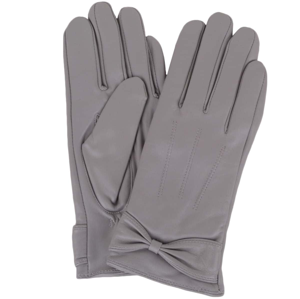Alwen - Leather Gloves with Bow Design - Grey