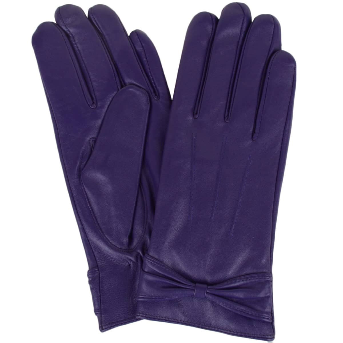 Alwen - Leather Gloves with Bow Design - Purple