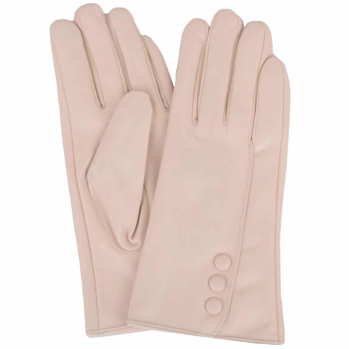 Rhian - Leather Gloves Triple Button Feature - Beige