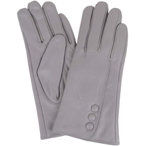 Rhian - Leather Gloves Triple Button Feature - Grey