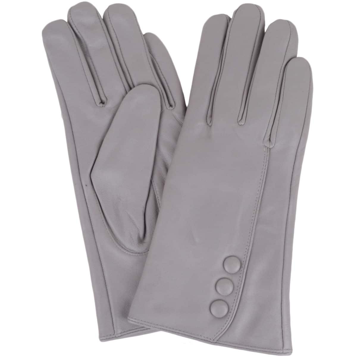 Rhian - Leather Gloves Triple Button Feature - Grey