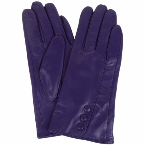 Rhian - Leather Gloves Triple Button Feature - Purple