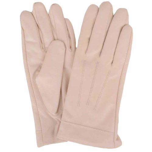 Mavis - Leather Gloves Three Point Stitch - Beige