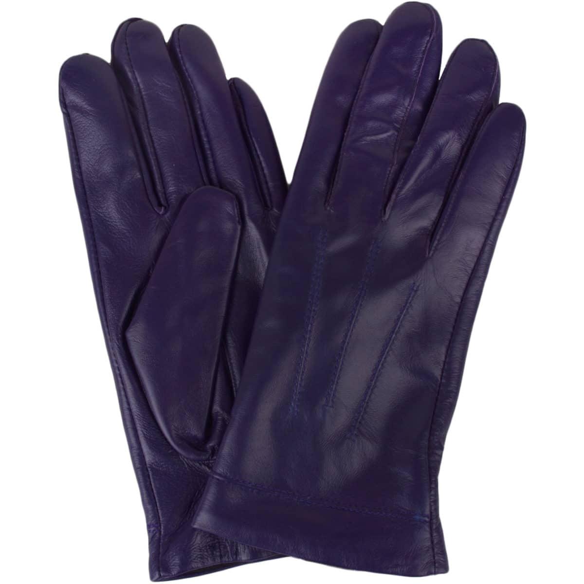 Mavis Leather Gloves Three Point Stitch Purple Snugrugs