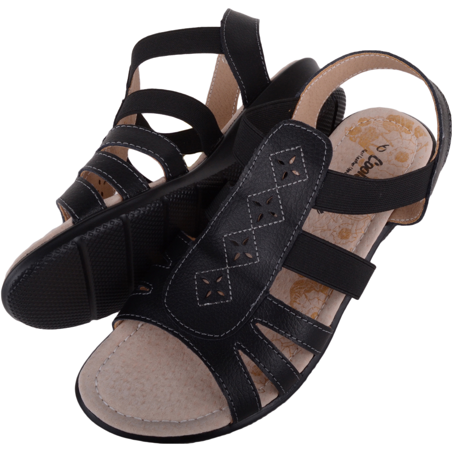 Leather Summer Sandals - Black