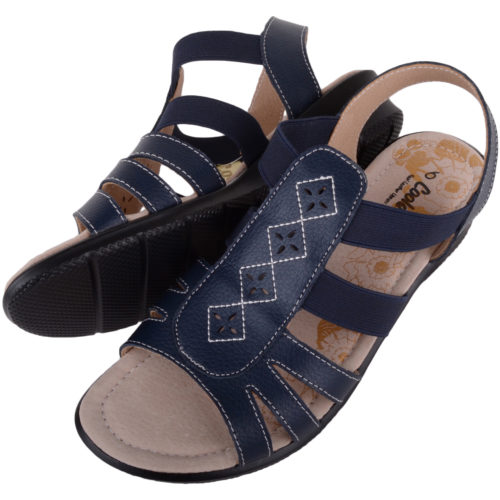 leather summer sandals - navy