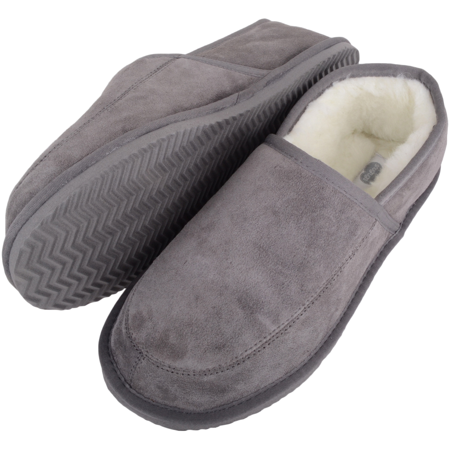 Snugrugs - Mens Wool Lined Suede Slippers - Grey