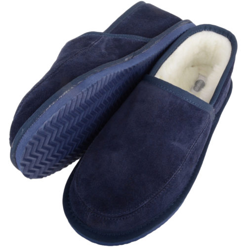 Snugrugs - Mens Wool Lined Suede Slippers - Navy