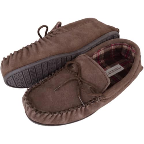 Snugrugs - Mens Cotton Lined Suede Moccasins - Taupe