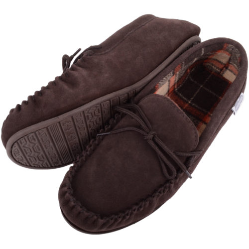 Snugrugs - Mens Cotton Lined Suede Moccasins - Brown