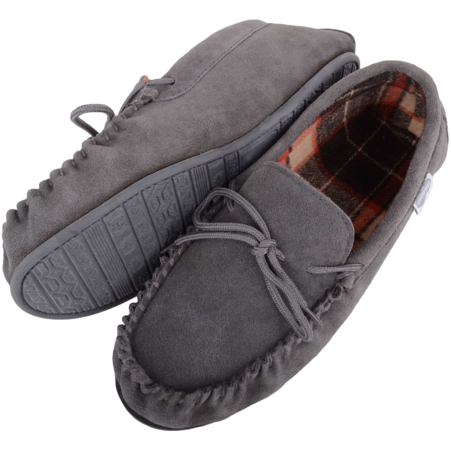 Snugrugs - Mens Cotton Lined Suede Moccasins - Grey