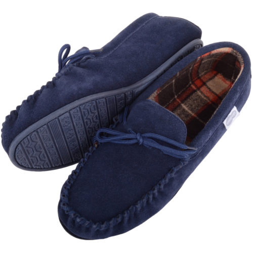 Snugrugs - Mens Cotton Lined Suede Moccasins - Navy