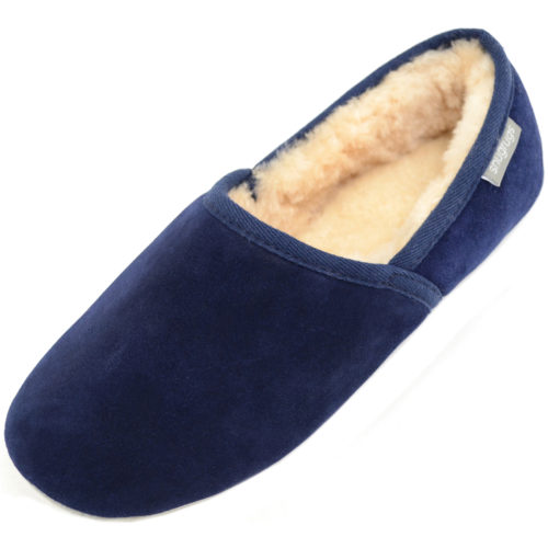 Harry Snugrugs Mens Sheepskin Slippers Navy