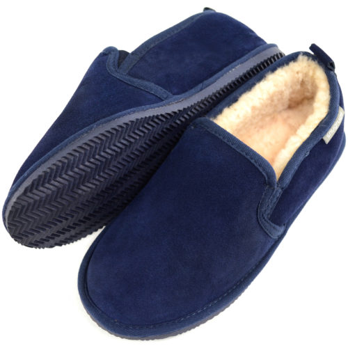 Henley Mens Sheepskin Slippers Navy