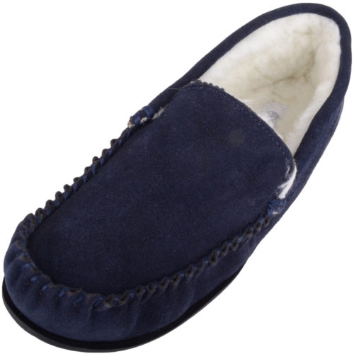 Snugrugs - Mens Wool Lined Loafer Moccasins - Navy