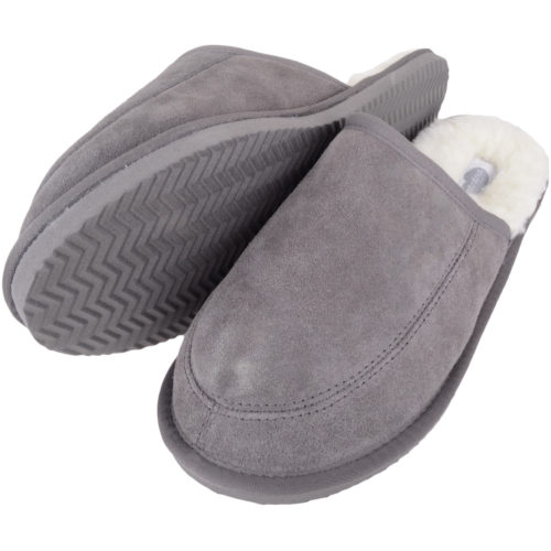 Snugrugs - Mens Wool Lined Mule Slippers - Grey
