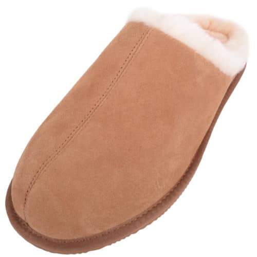 Snugrugs - Mens Rubber Sole Sheepskin Slippers - Chestnut