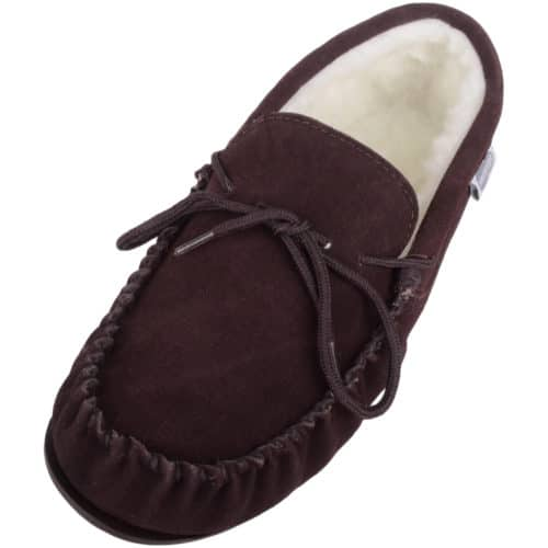 753f17da15f6 Wool Lined Suede Moccasin with Rubber Sole - Dark Brown
