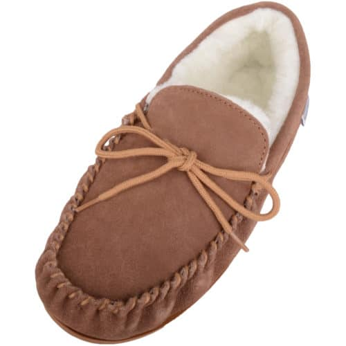 Snugrugs - Wool Lined Suede Moccasins Rubber Sole - Light Brown