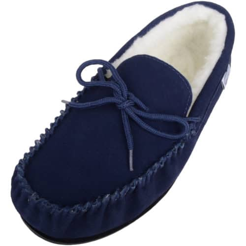 SNUGRUGS Rubber Sole Wool Moccasin - Navy