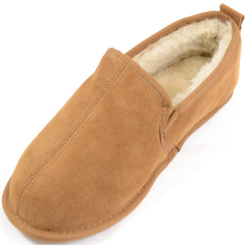 Snugrugs - Mens Sheepskin Slipper Suede Sole - Chestnut