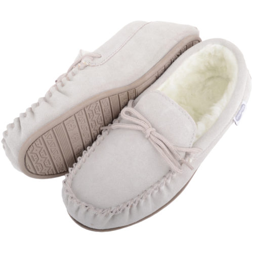 Snugrugs Wool Lined Moccasin with Rubber Sole - Beige