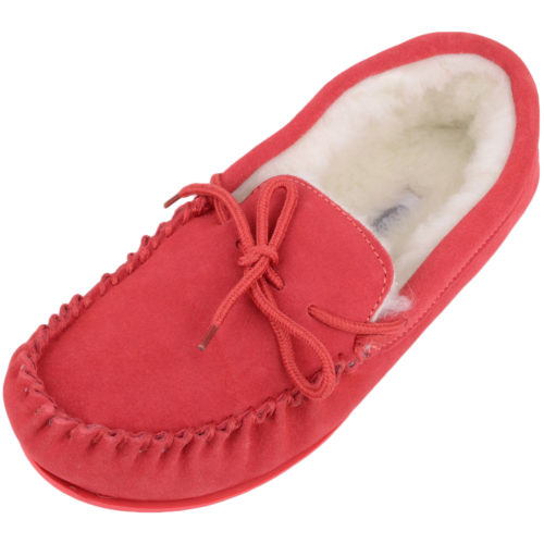 Snugrugs Clara Wool Lined Moccasin with Rubber Sole - Crimson