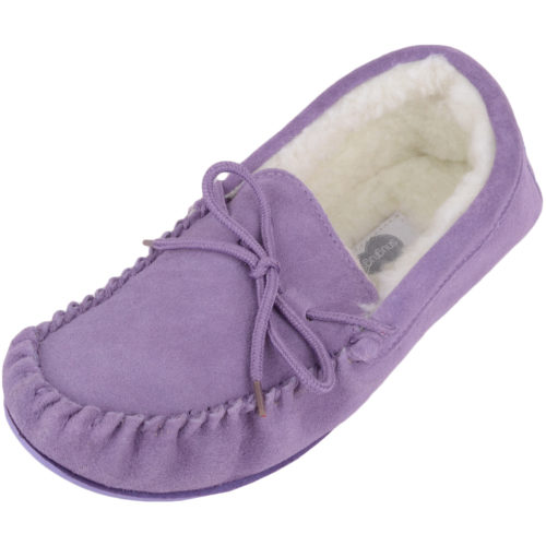 Snugrugs Clara Wool Lined Suede Moccasin with Rubber Sole - Lilac