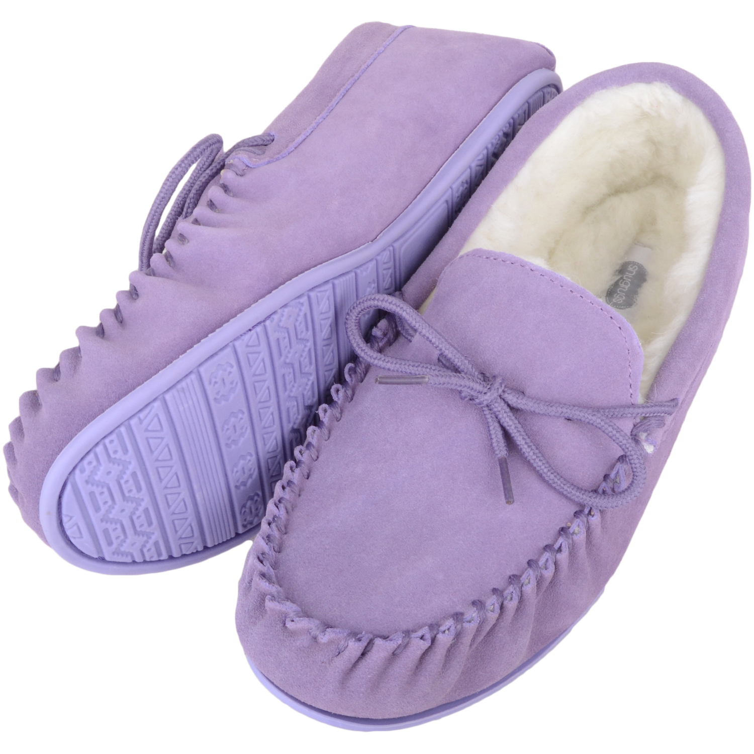 Snugrugs Wool Lined Suede Moccasin with Rubber Sole - Lilac