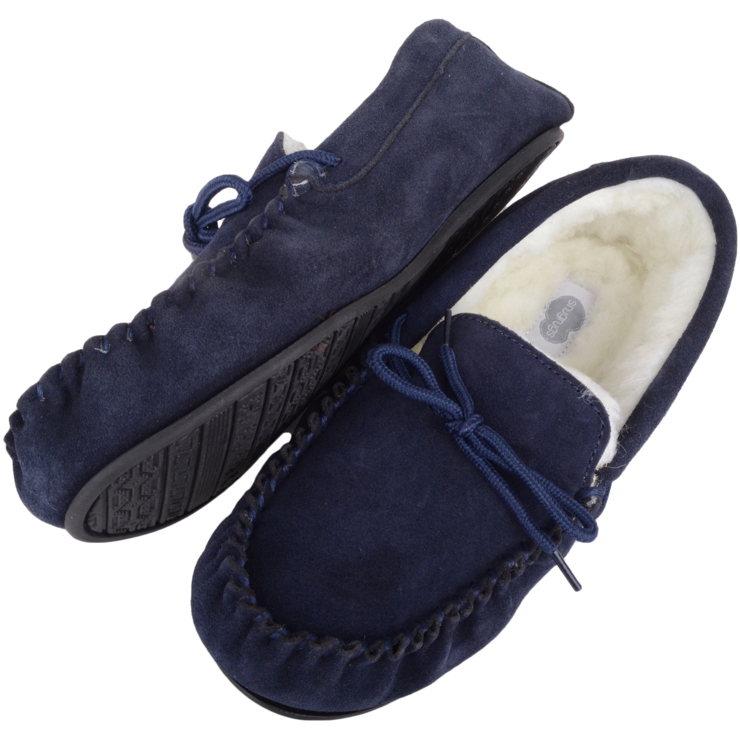 Snugrugs Wool Lined Moccasin with Rubber Sole - Navy