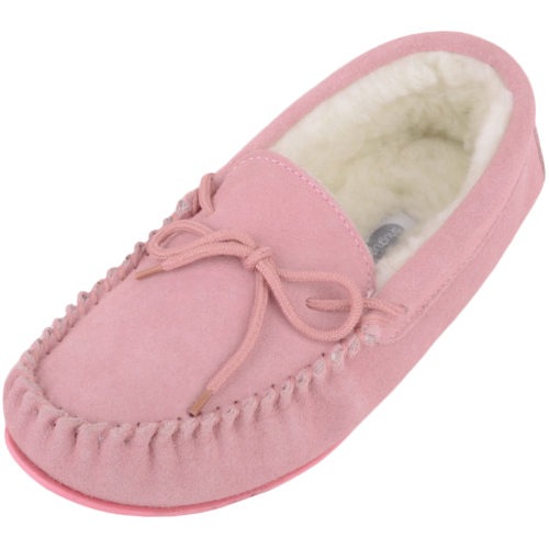 Snugrugs Clara Wool Lined Suede Moccasin with Rubber Sole - Pink