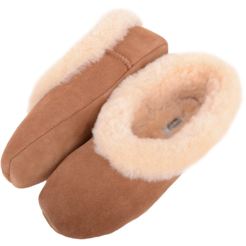 Snugrugs - Ladies Sheepskin Ballerina Slippers - Chestnut