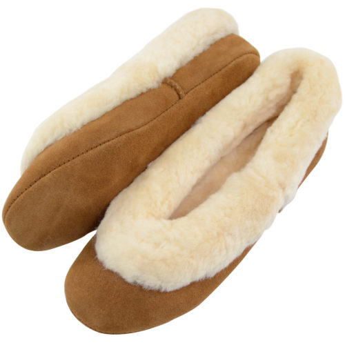 Snugrugs - Ladies Sheepskin Ballerina Slippers - Chestnut