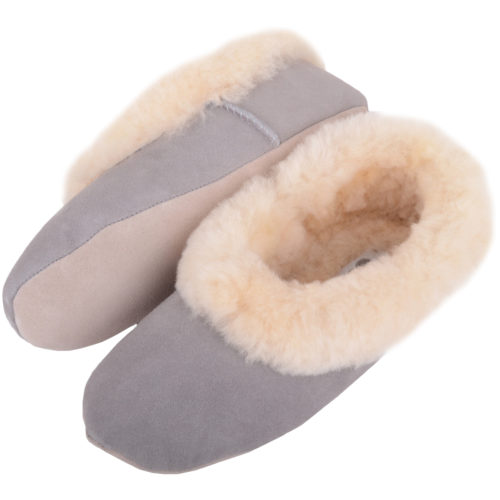 Snugrugs - Ladies Sheepskin Ballerina Slippers - Light Grey