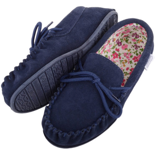 Snugrugs - Ladies Cotton Lined Suede Moccasins - Navy