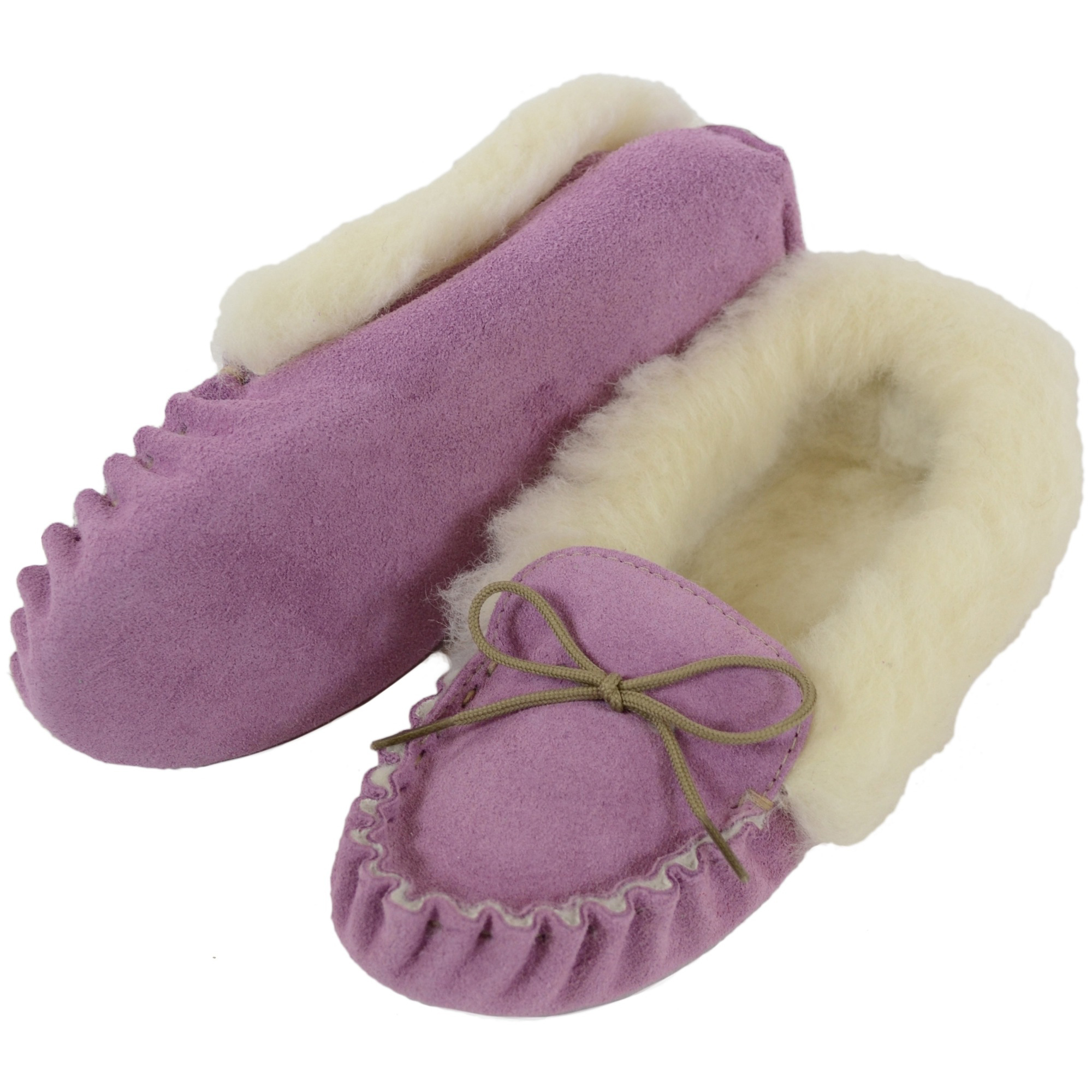 Snugrugs Ladies Wool Suede Moccasin slippers Suede Sole