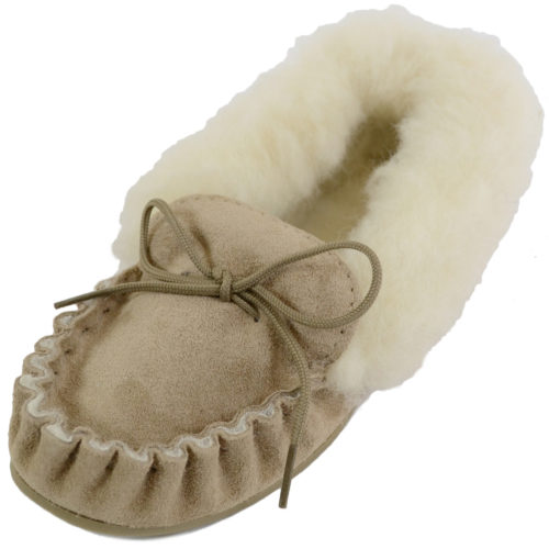 Snugrugs - Ladies Wool Lined Moccasins with Cuff - Beige