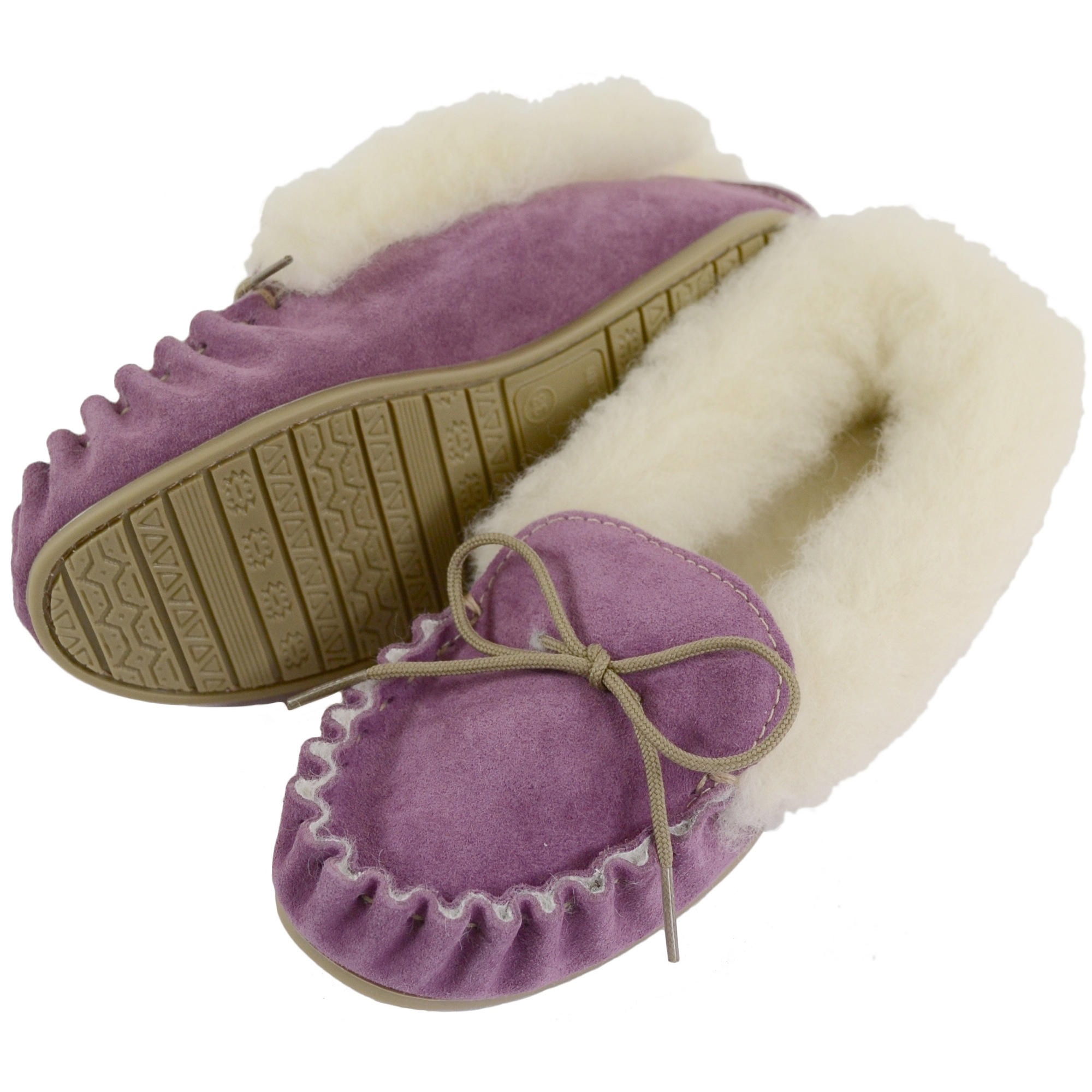 Snugrugs - Ladies Wool Lined Moccasins with Cuff - Purple