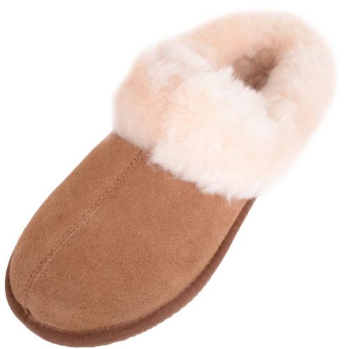 Snugrugs - Ladies Sheepskin Mule Slipper with Cuff - Chestnut