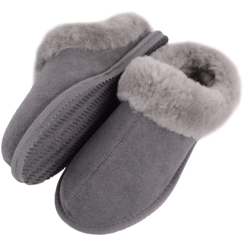 Snugrugs - Ladies Sheepskin Mule Slipper with Cuff - Grey