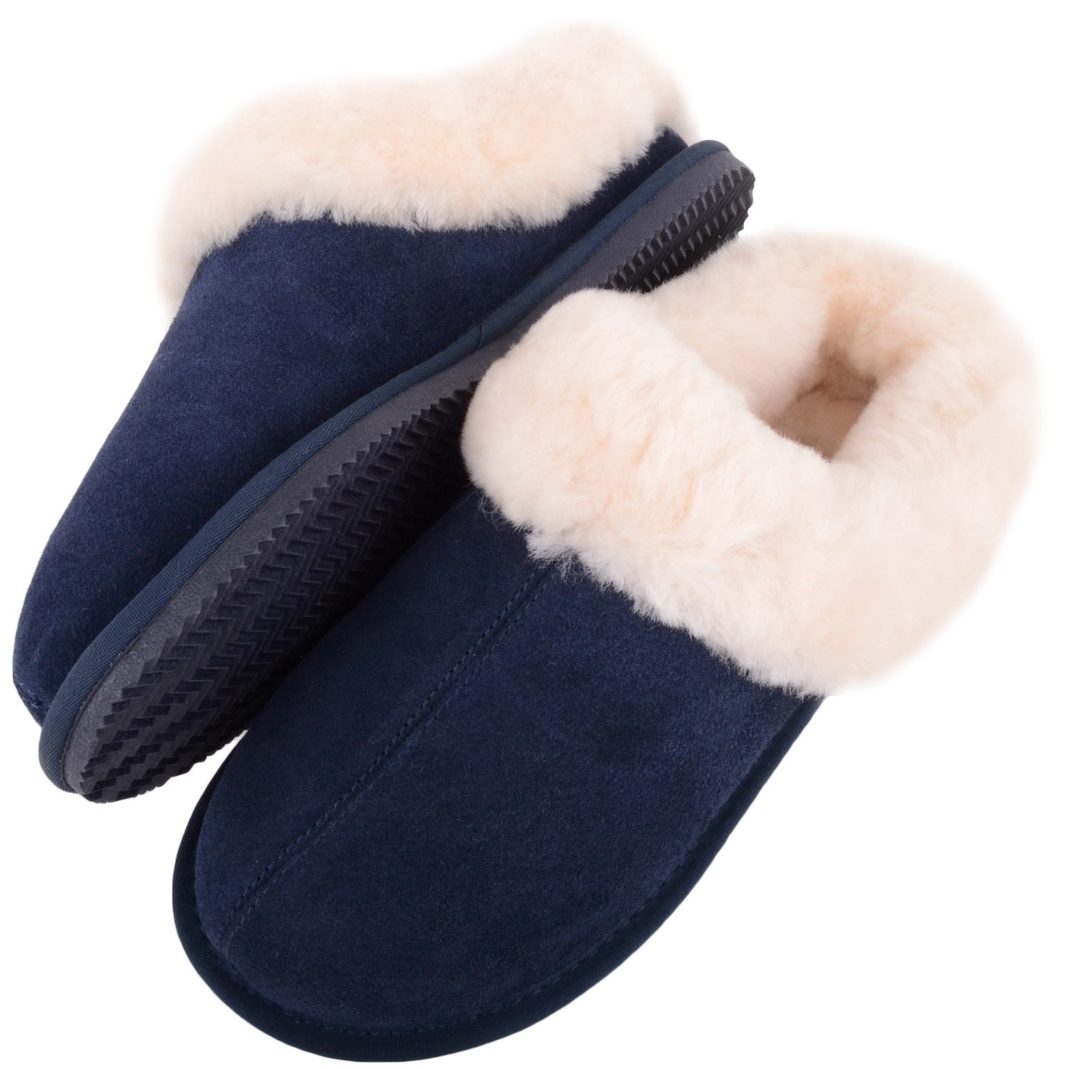 Snugrugs - Ladies Sheepskin Mule Slipper with Cuff - Navy