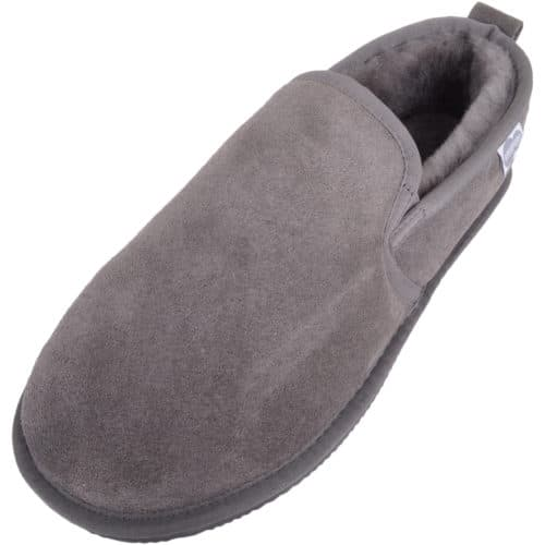 Henley Mens Sheepskin Slippers Grey