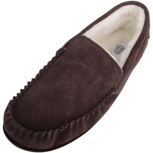 Snugrugs - Mens Wool Lined Loafer Moccasins - Brown