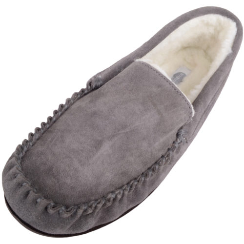 Snugrugs - Mens Wool Lined Loafer Moccasins - Grey