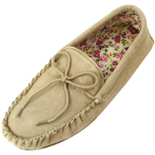 Snugrugs - Ladies Cotton Lined Suede Moccasins - Camel