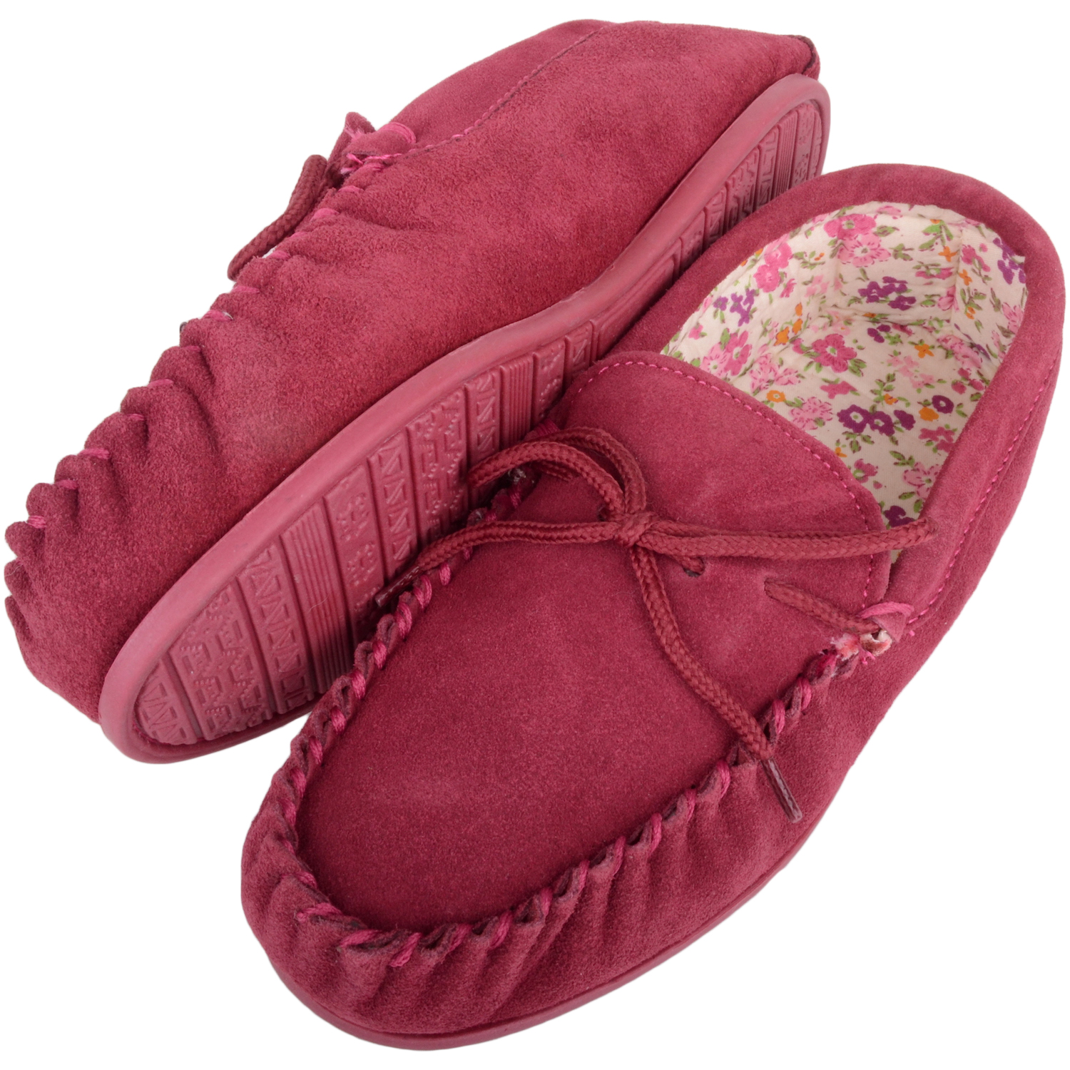 Snugrugs - Ladies Cotton Lined Suede Moccasins - Crimson