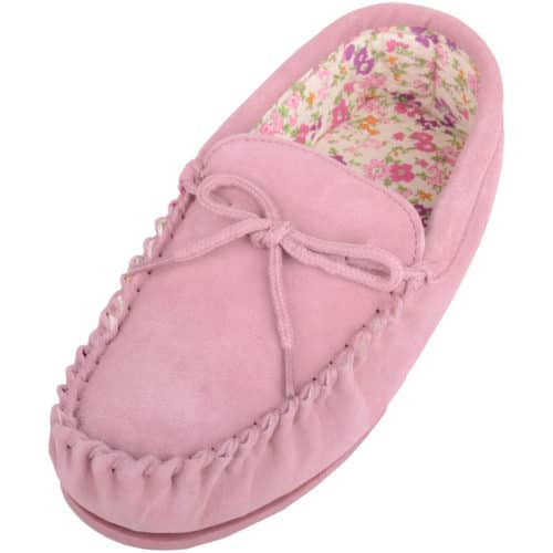 Snugrugs - Ladies Cotton Lined Suede Moccasins - Pink