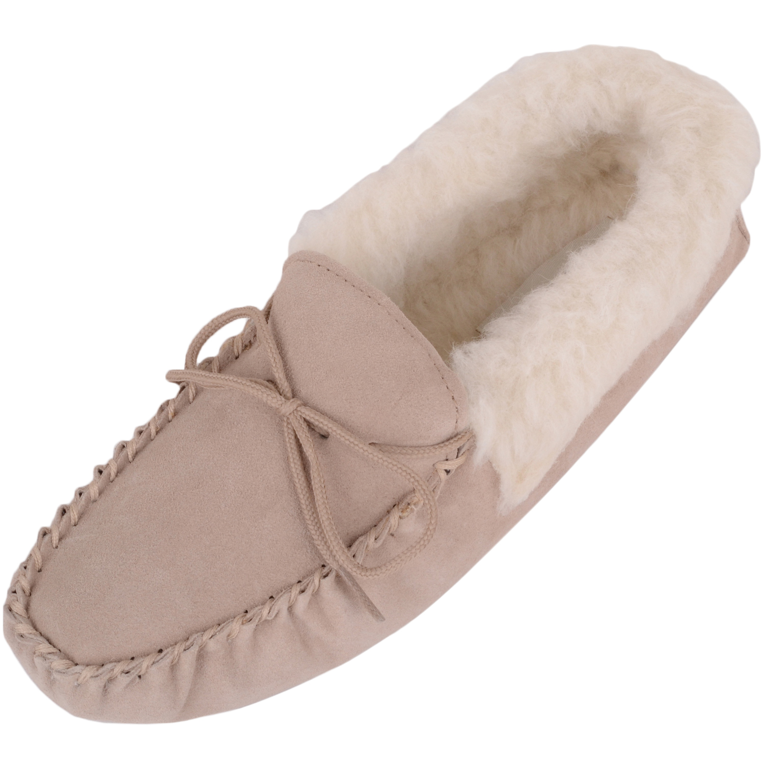 Snugrugs Ladies Wool Lined Suede Moccasins Wool Cuff Camel