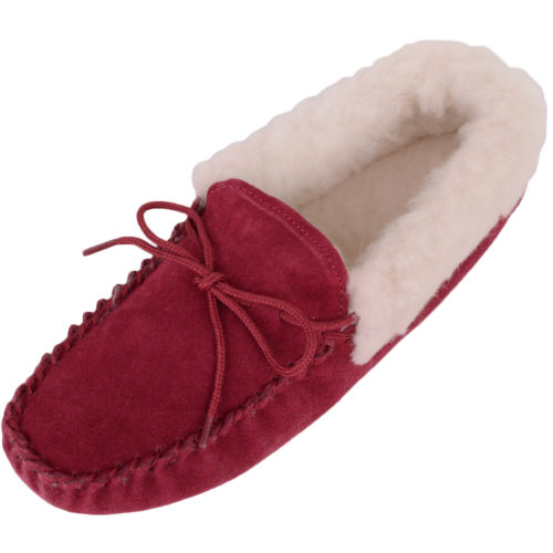Snugrugs Wool Lined Suede Moccasins Wool Cuff Crimson