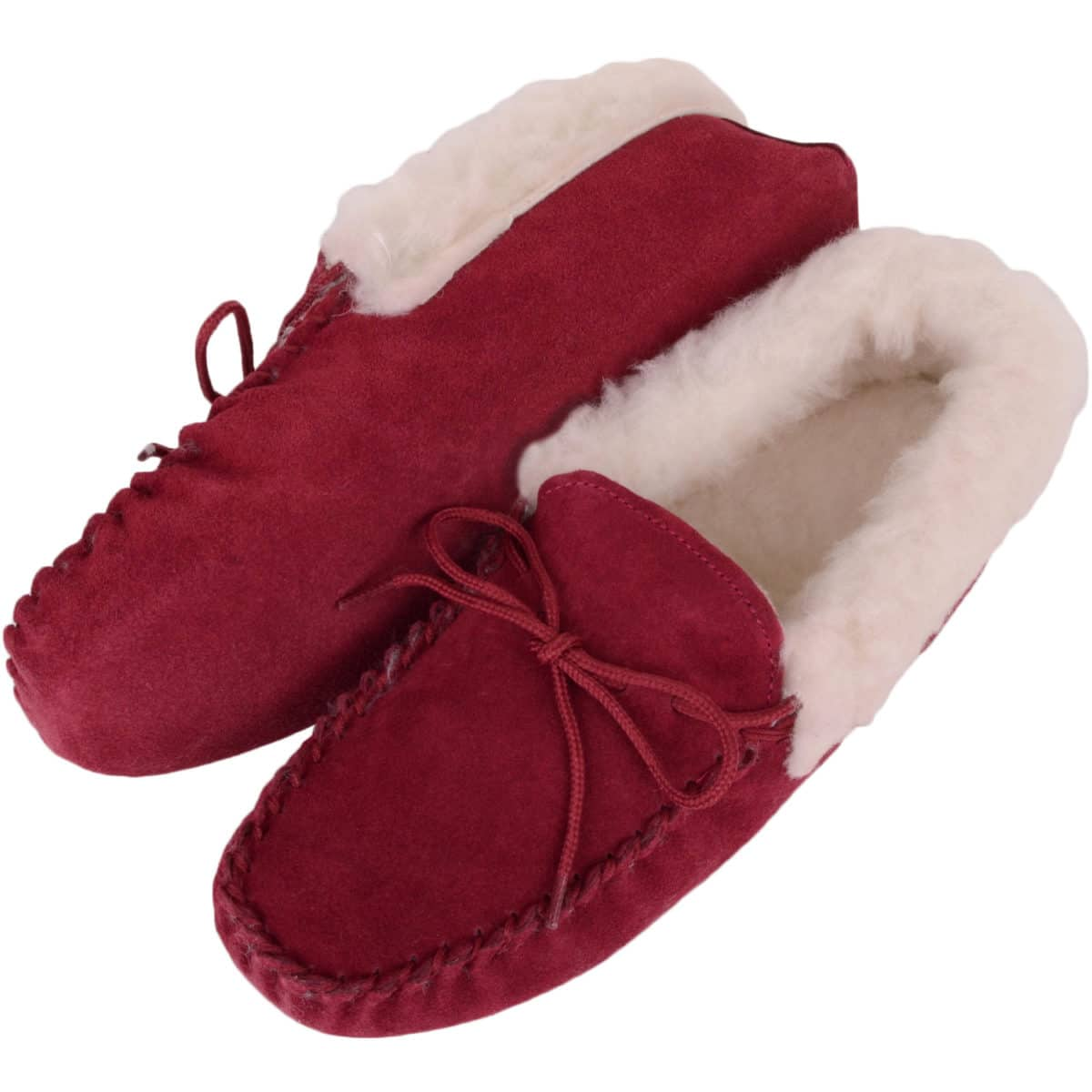 Snugrugs Soft Sole Wool Cuff Moccasin - Crimson